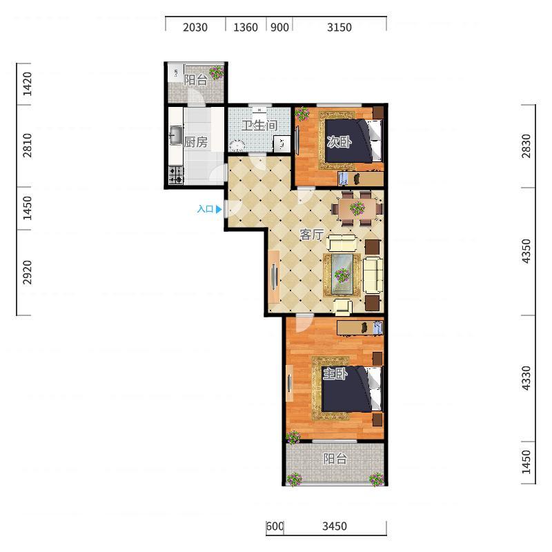 万维花园4-1-503户型图