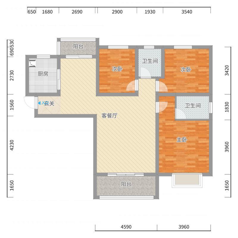富平和谐园D2号楼601室户型图