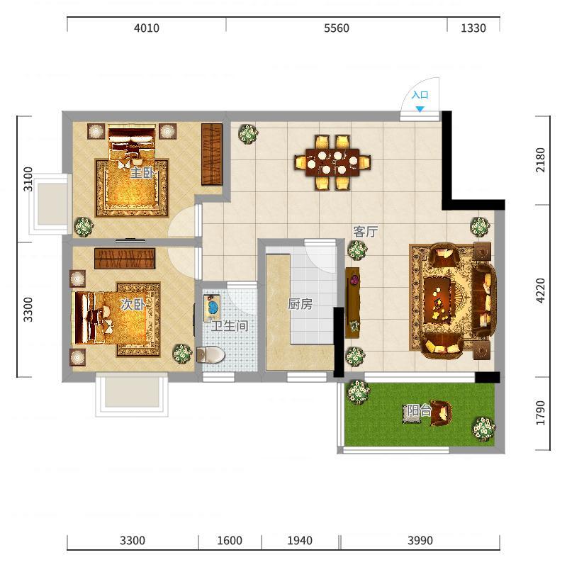 2#3#丽景湾86.08㎡(2房2厅1卫)户型图