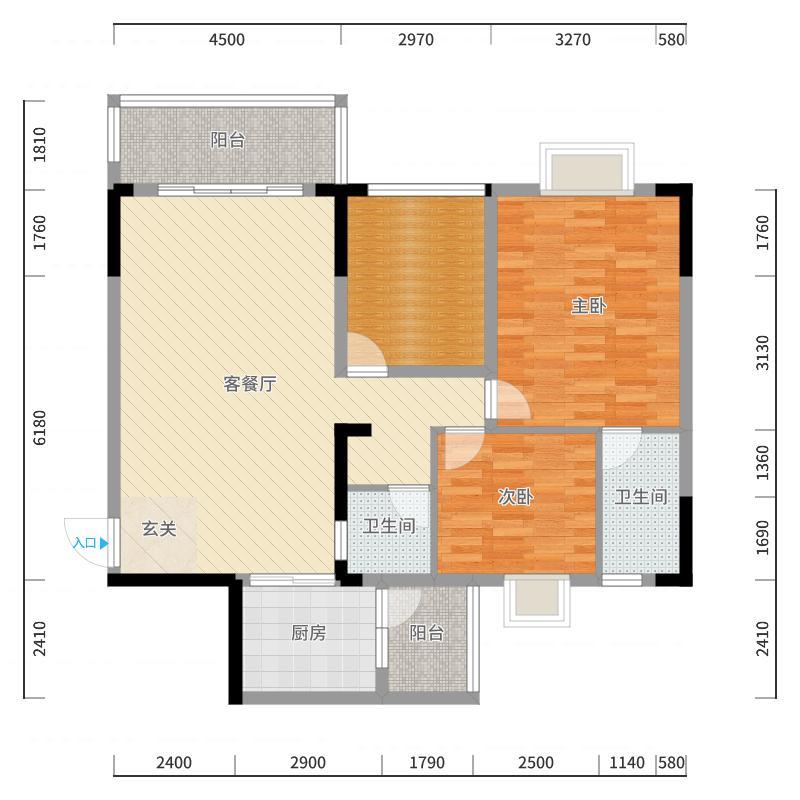 1#丽景弯119.46㎡(2房2厅2卫改成3房2厅2卫)户型图