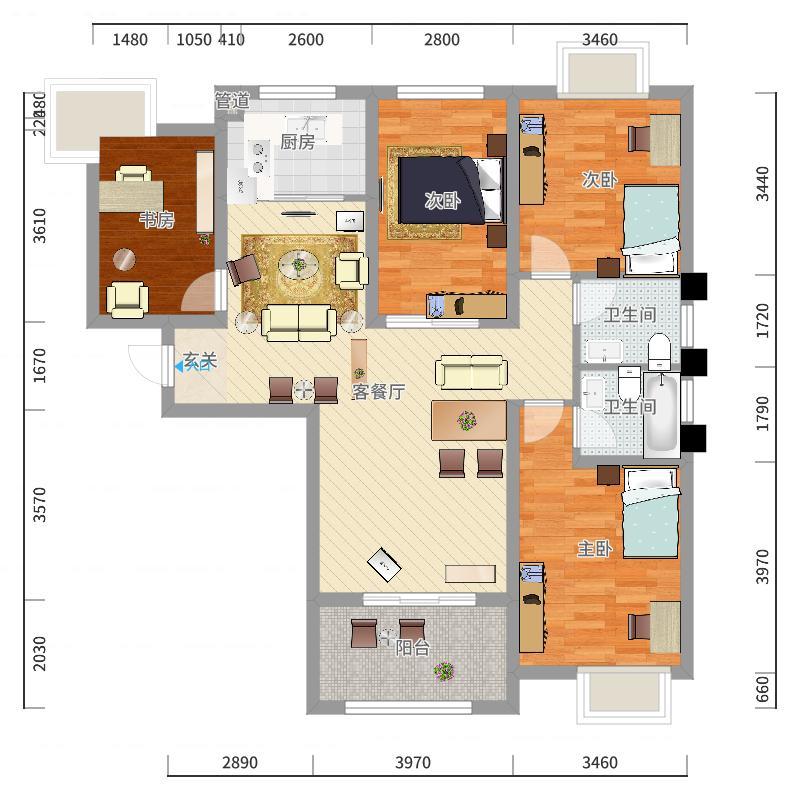 御景龙湾132.00㎡小高层16号楼东户M户型4室2厅2卫1厨-副本户型图