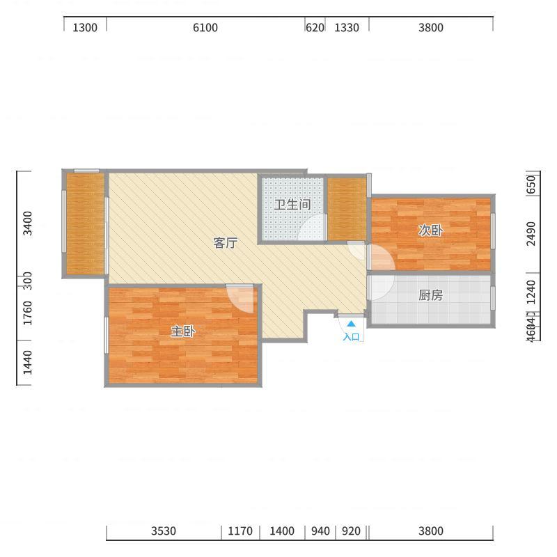 恒盛13-1-1002新锐两室-副本户型图