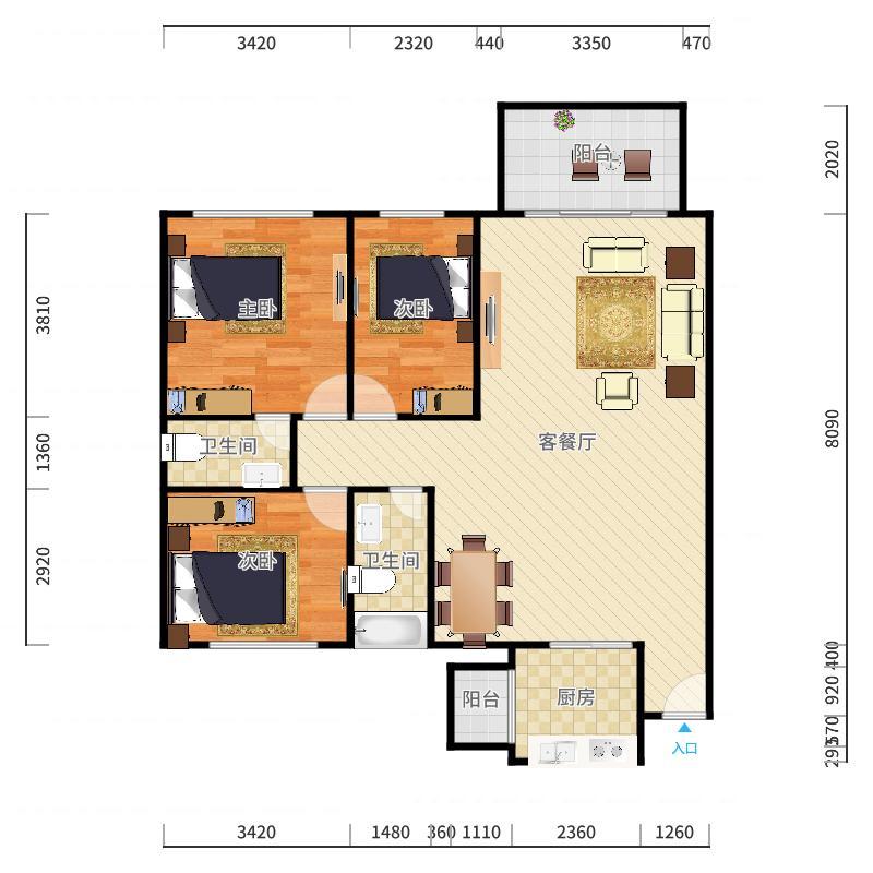 1020+韦银燕+第1套+新鸿花园+112平+S1173054户型图