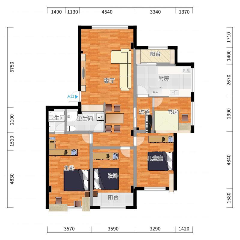 实际室内面积(详细)-最终实施方案20171021户型图