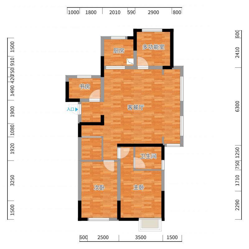 绿地国际城-2017/10/21/22:12:45-厨房靠西户型图