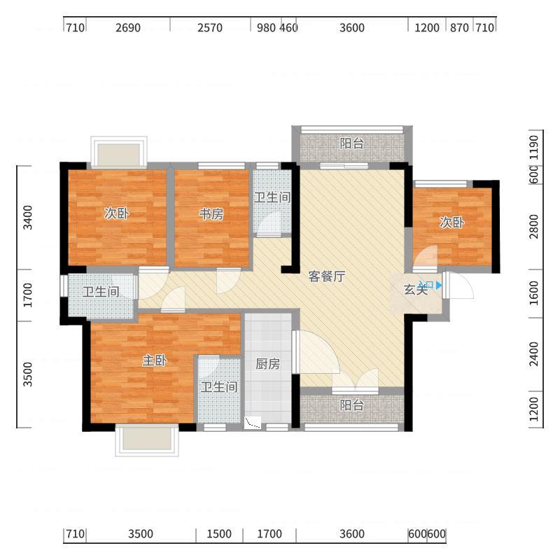 南宁_嘉和城-白鹭郡B3<4房2厅3卫>户型图