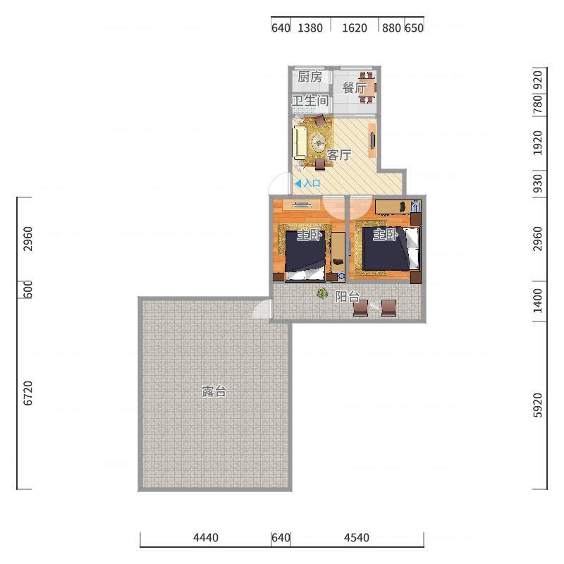 一建宿舍65.5平空中露台60平户型图