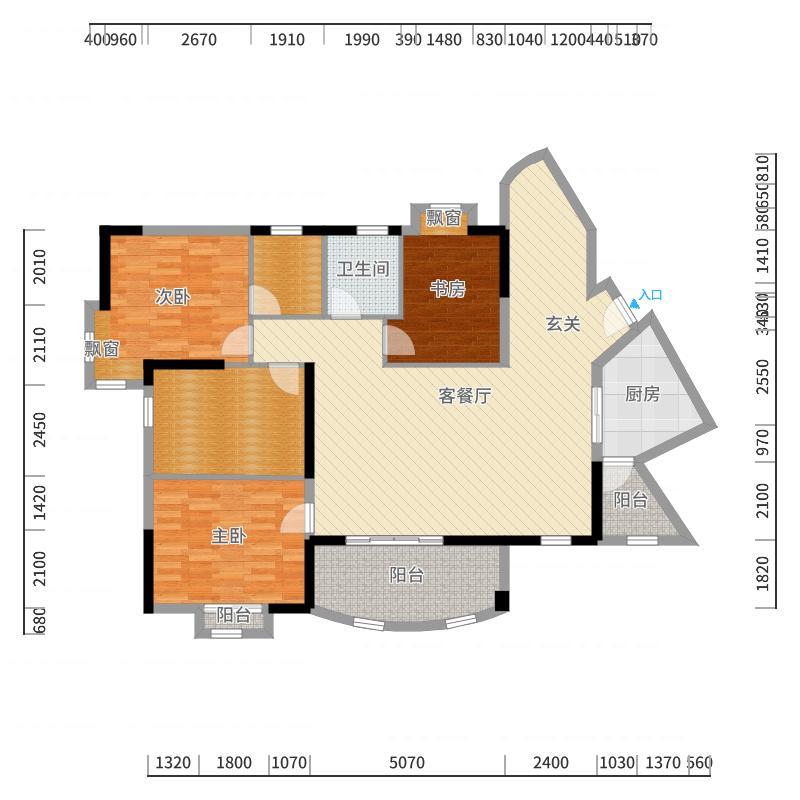 台山昌大昌广场149.00㎡一期C幢标准层02、02户型3室3厅2卫1厨-副本户型图