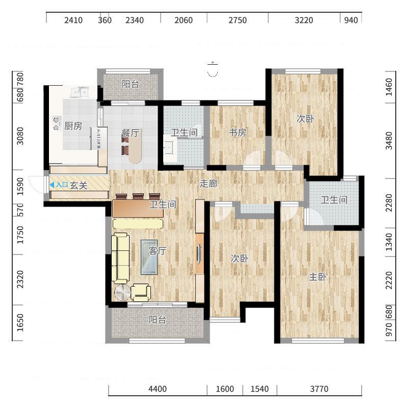 复地悦城143.00㎡精装高层D13+宽适户型4室2厅2卫户型图