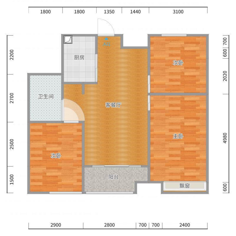 和昌中央悦府89.75米²三室两厅户型图