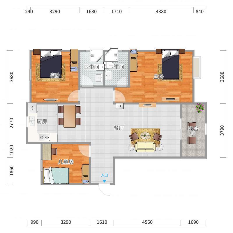 太阳五区8#楼1单元2601户型图