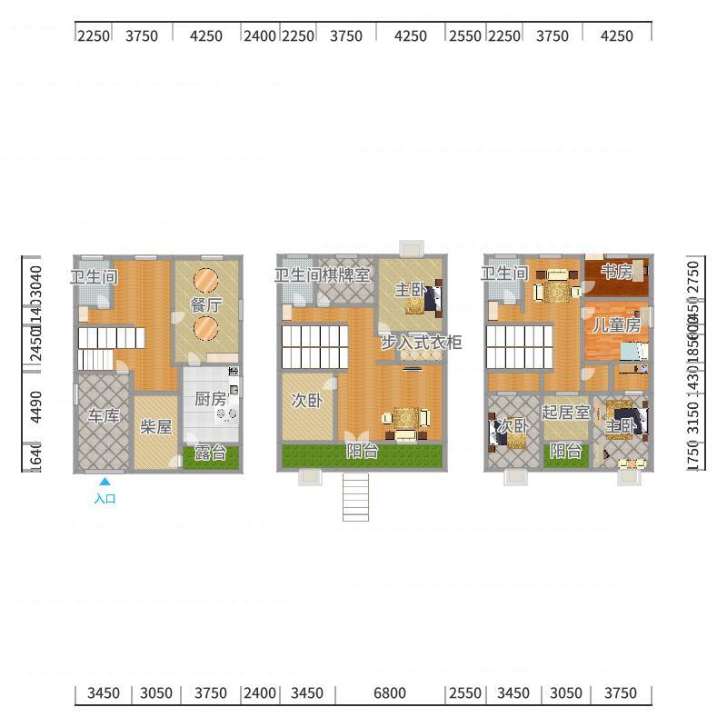 3层设计底楼带厨房餐厅-副本户型图