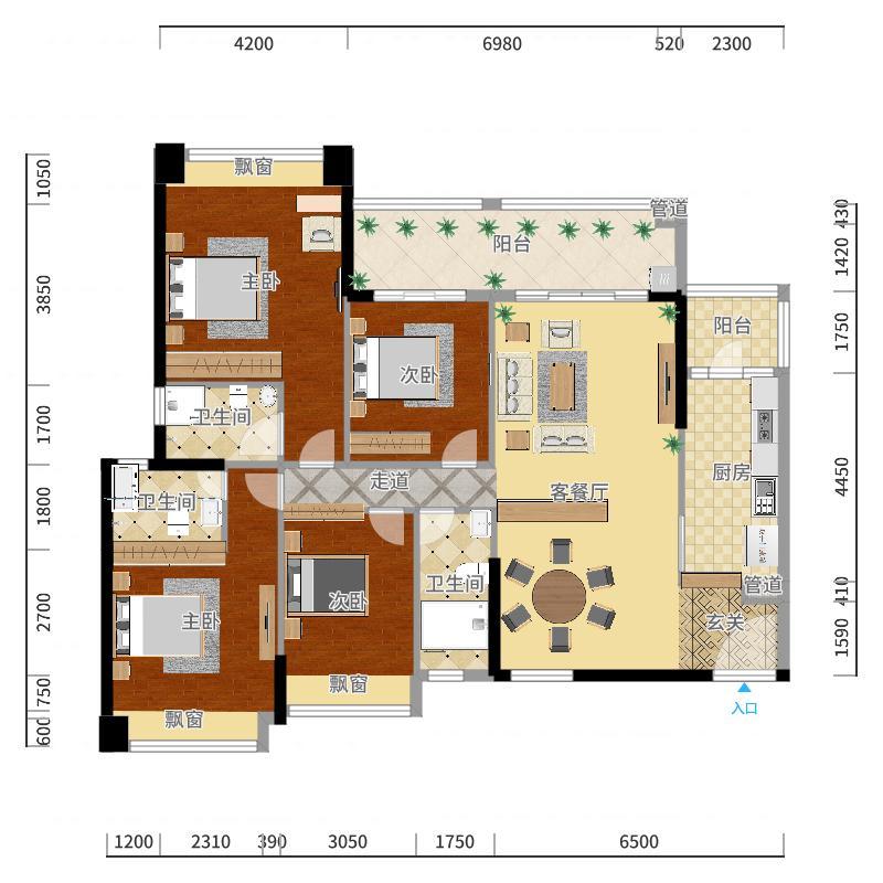 幸福华庭17.00㎡户型4室2厅3卫1厨-副本户型图