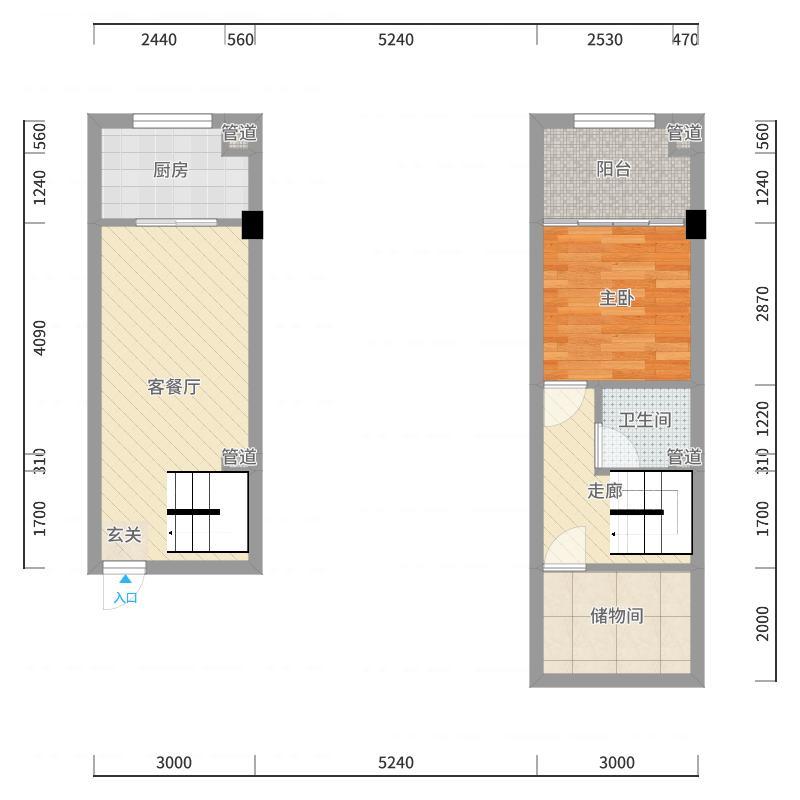 秦新悦蓝山33.38㎡D户型户型图