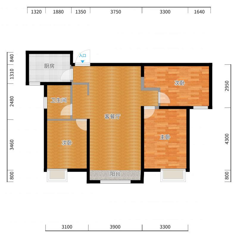 路劲太阳城113.20㎡E户型3室2厅1卫-副本户型图
