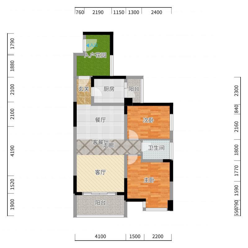 恒基雍翠名门B/b入户花园户型2室1厅1卫1厨户型图