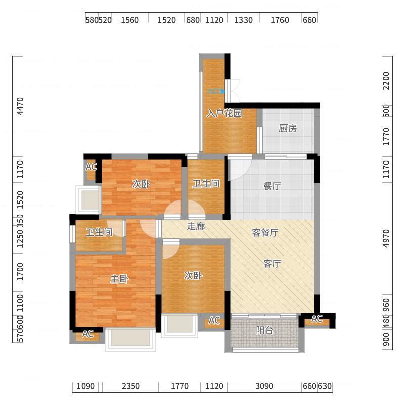 中冶黛山壹品104.08㎡一期4栋1、6号房标准层户型-副本户型图