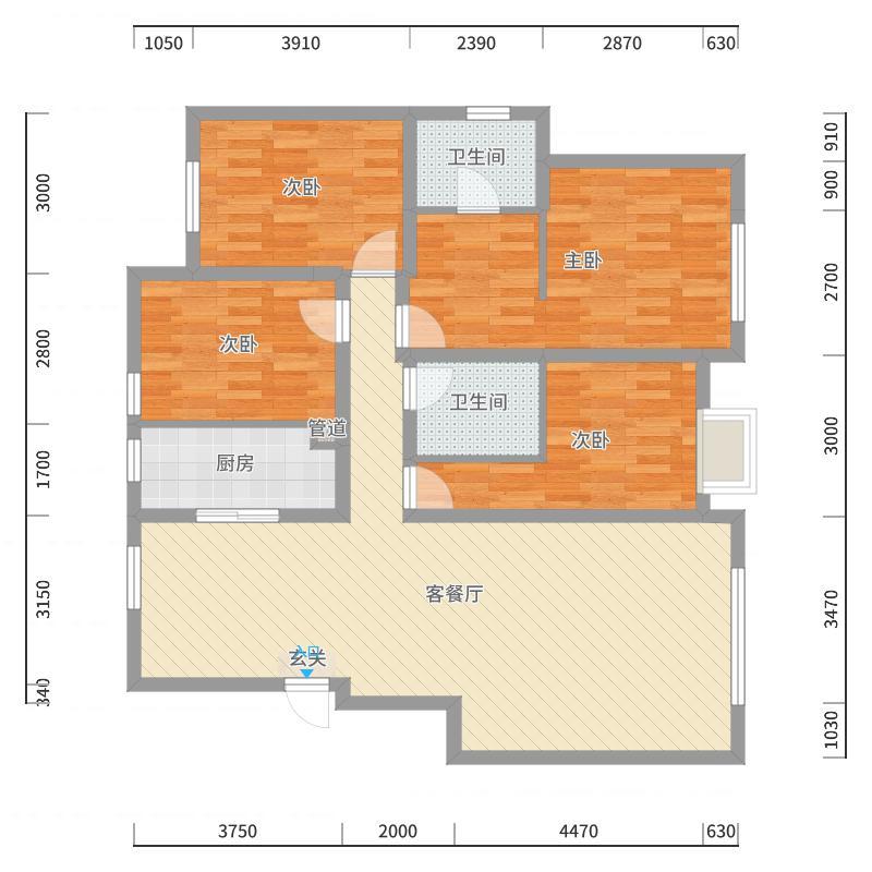 金地檀溪132.00㎡D3—2、3、5号楼A5户型4室4厅2卫1厨-副本户型图