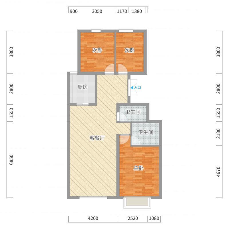 瀚星华府117.93㎡A4-1户型3室3厅2卫1厨户型图