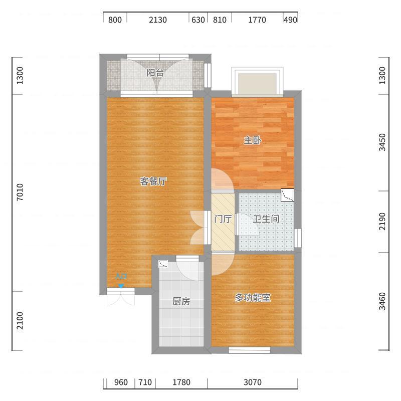 京汉铂寓2期6-2-1202户型图户型图