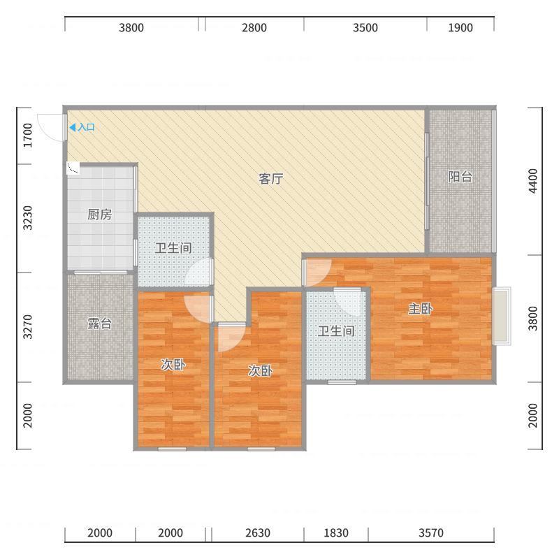 A1栋1单元17层4号住宅户型图