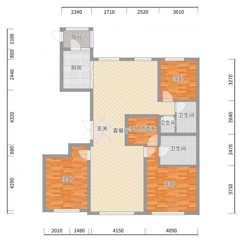 北京城建国誉府G2户型户型图