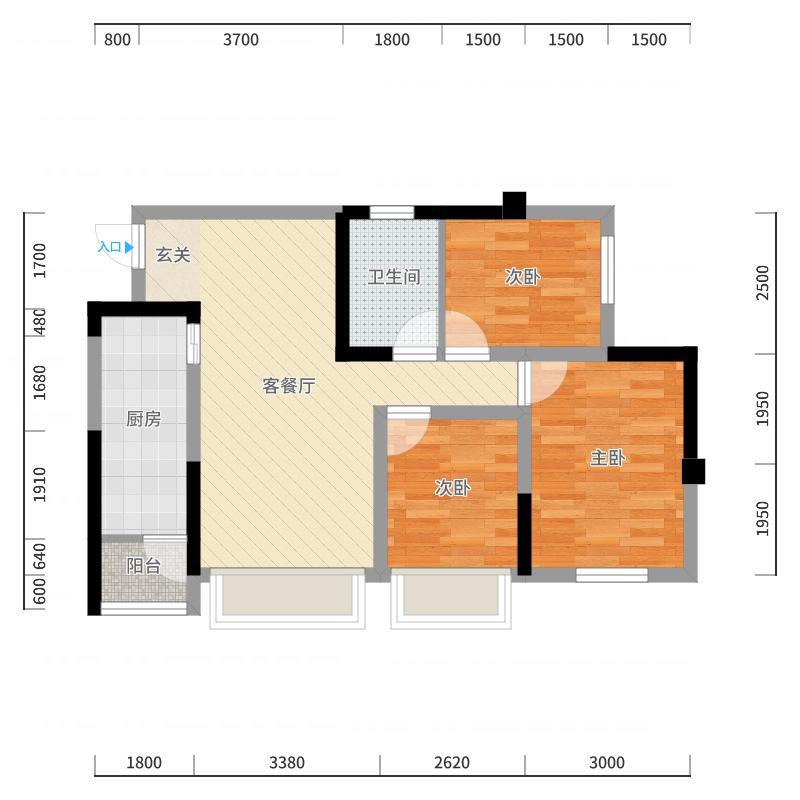 蓝光COCO香江2期71.20㎡C户型3室2厅1卫1厨户型图