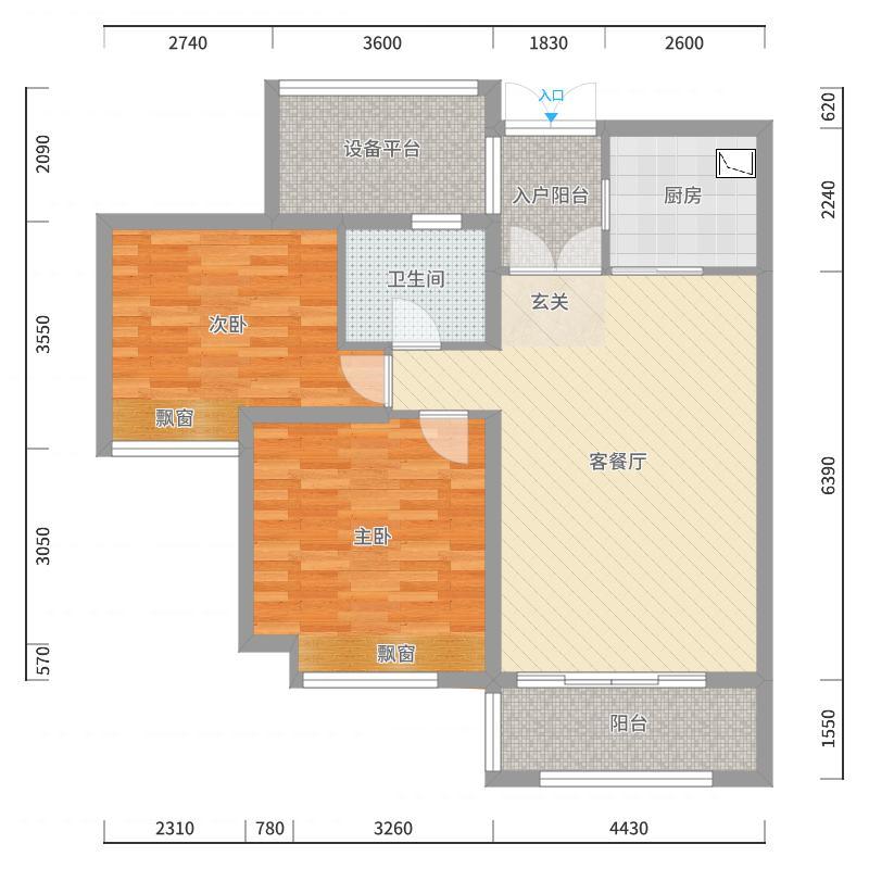 东方御府98.00㎡D2户型2室2厅1卫1厨-副本户型图