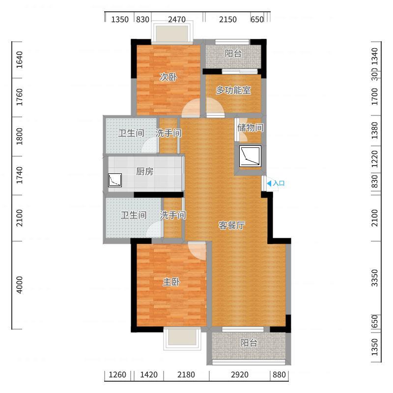 E1 E2 电梯房平层三室两厅两卫95.27_ 107.97-副本户型图