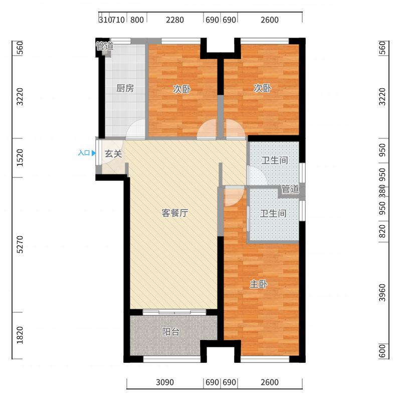 中骏柏景湾115.00㎡C户型3室2厅2卫1厨户型图
