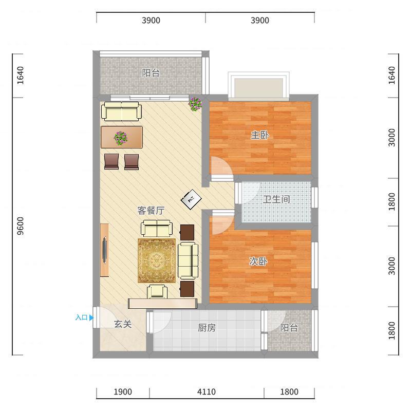 隆林・幸福花园284.34㎡G2户型2室2厅1卫1厨户型图