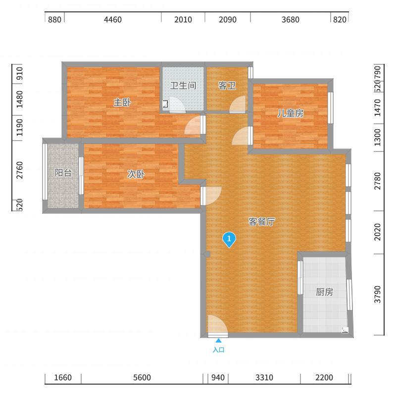 龙城华府4栋1单元803室原户型户型图