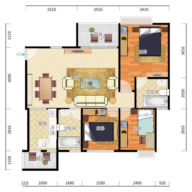 领地海纳天河花园14栋1702户型图