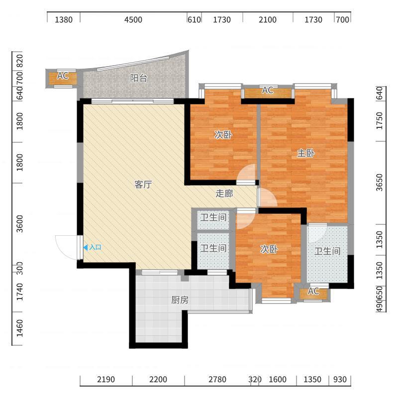 千居朝阳118.21㎡6-2-1型面积11821m户型户型图
