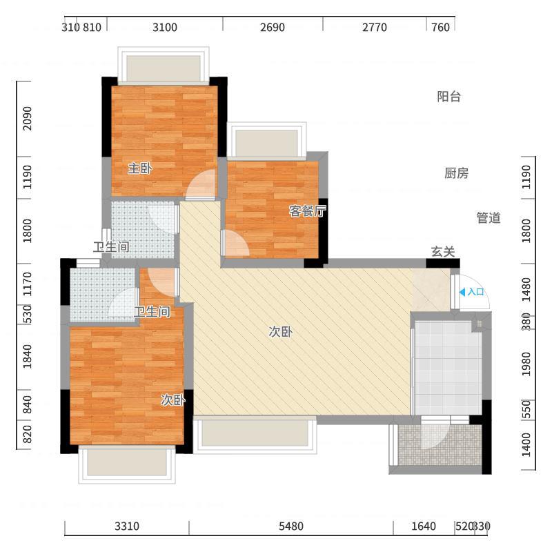 棠府锦绣城92.00㎡1、6#标准层A2户型3室3厅2卫1厨-副本-副本户型图