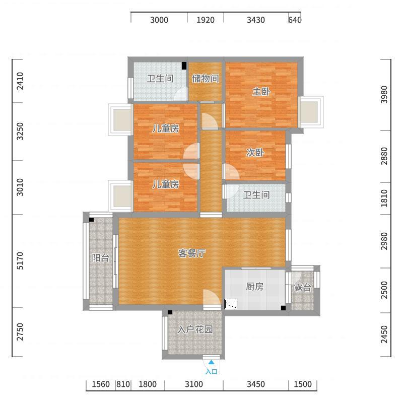 广大上城B3-1304户型图