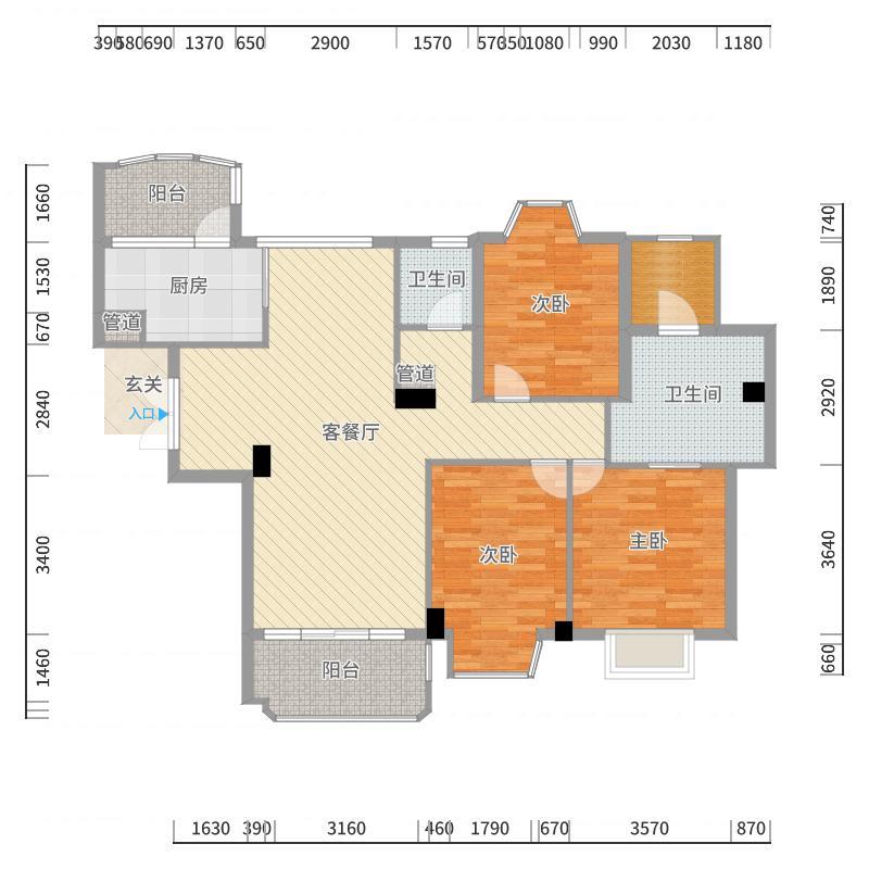 京华城中城10-201结构户型图