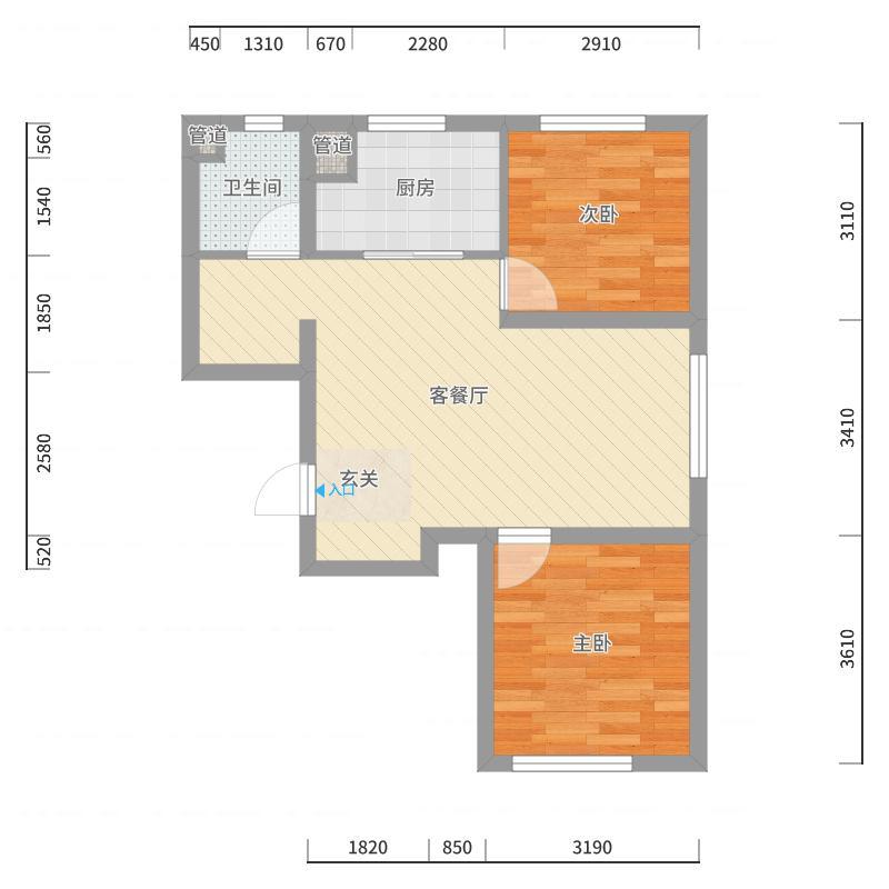 万科香湖盛景74.00㎡户型2室2厅1卫1厨户型图