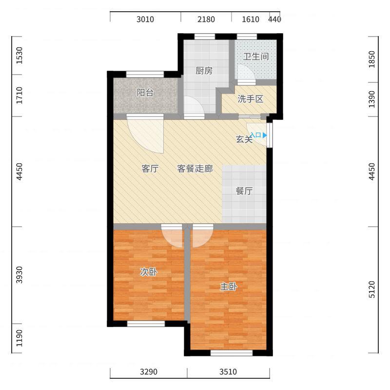 高景花园80.00㎡房型: 二房; 面积段: 80 -90 平方米;户型-副本户型图