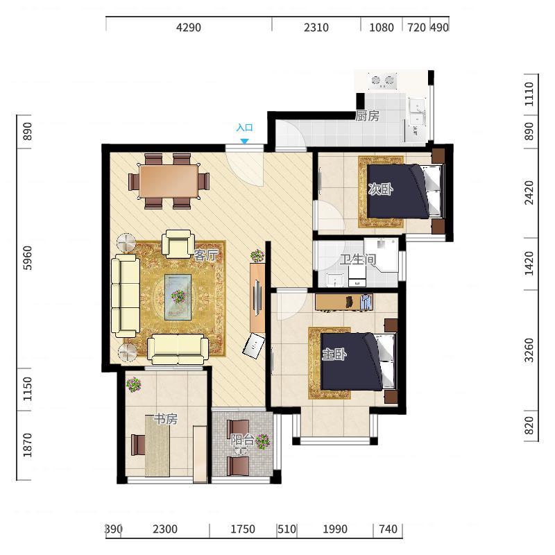 美地里园1-B-1405户型图