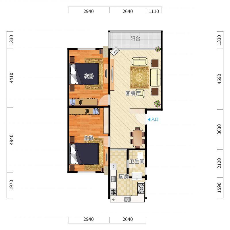 江华苑14栋-3号205户型图