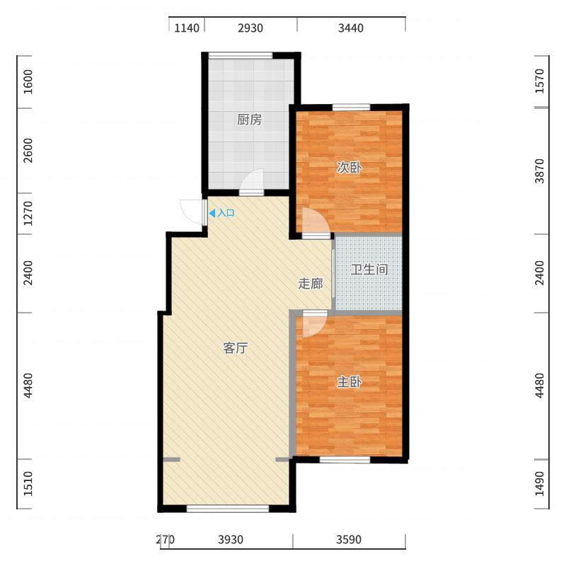 香林名苑户型2室1厅户型图