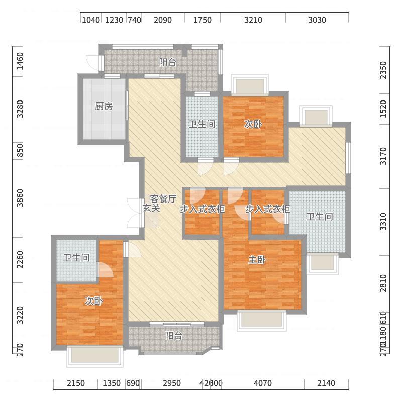 国浩长风汇都C1户型4室2厅3卫-副本户型图