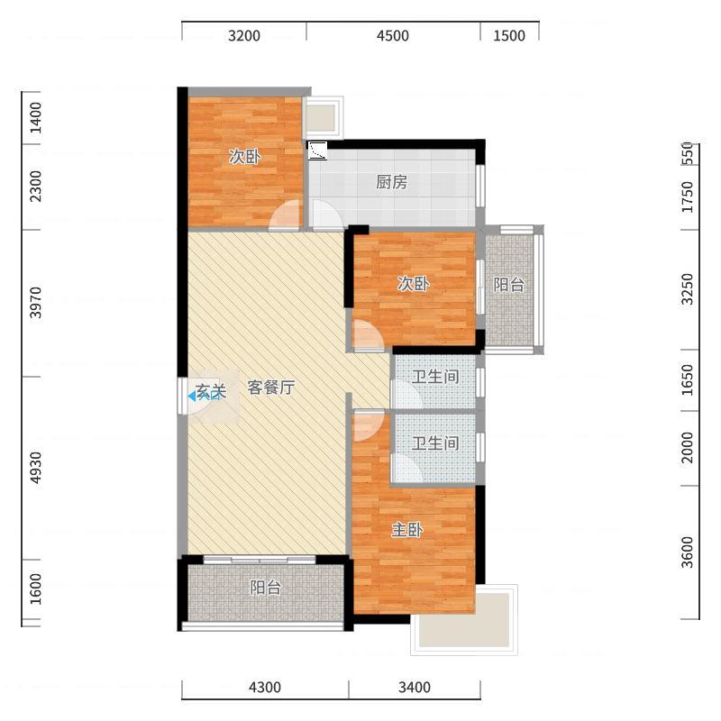 港保苑124.23㎡6#1单元03户型3室3厅2卫1厨户型图
