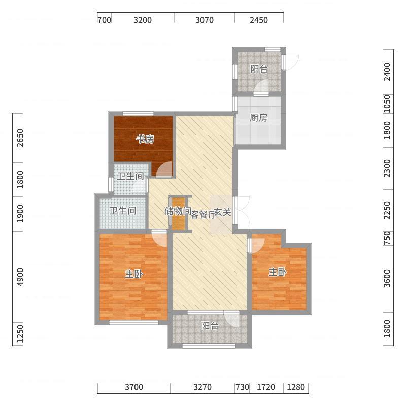 华润纯海岸126.00㎡126平户型图3室2厅2卫1厨-副本户型图