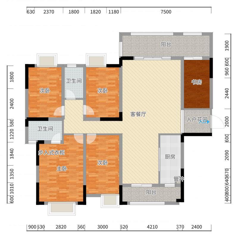 康美・福临门171.00㎡1-B户型5室2厅2卫1厨户型图