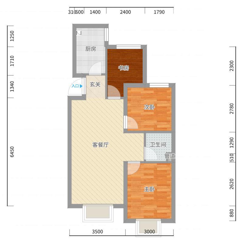 潮白河孔雀城学府澜湾83.00㎡三期C户型3室3厅1卫1厨-副本户型图