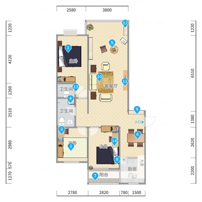 现代简约客餐厅(天翔苑)-方案2户型图