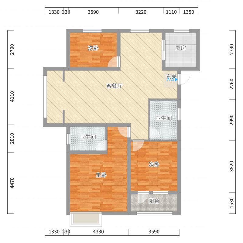 海滨御苑128.00㎡1-8#标准层A3户型3室3厅1卫1厨-副本户型图