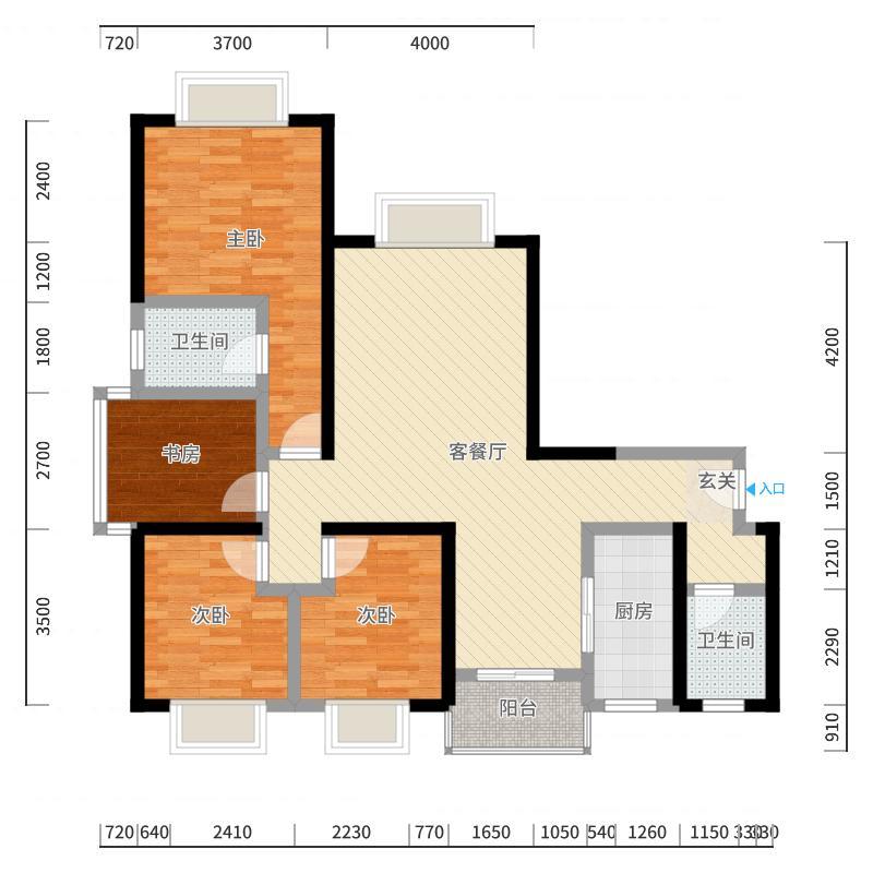 竹园华府二期125.70㎡4户型3室2厅2卫-副本-副本户型图